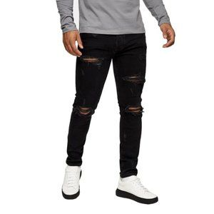 TOPMAN CONSIDERED BlK Ripped Stretch Skinny Jeans